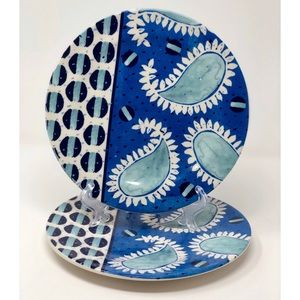 Pair of SUNO for Anthropologie Blue Paisley Plates